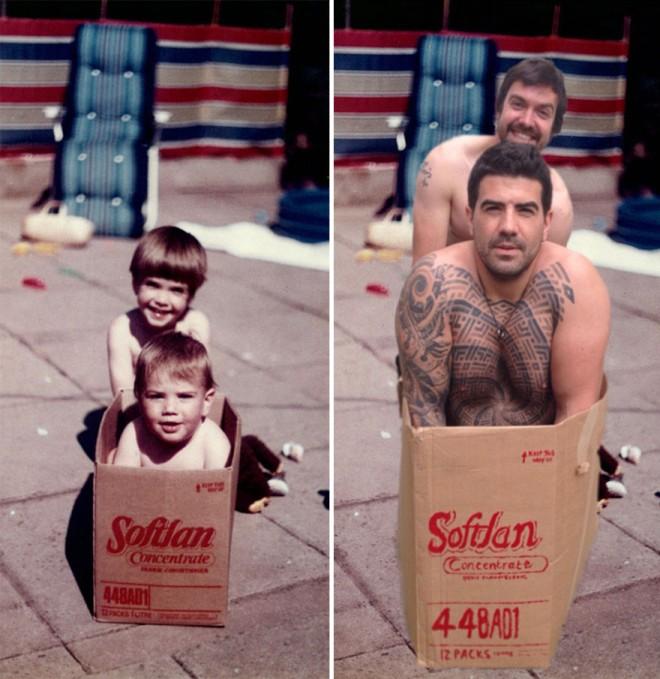 hermanos que recrearon varias fotos de su niñez