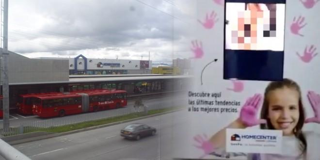 Se vuelve viral en internet video porno en un aviso de Homecenter proyectado en Transmilenio