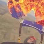 incendia su paracaidas
