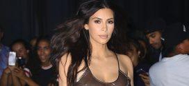 Fotos de Kim Kardashian con un traje transparente y sin sostén durante el concierto de Kanye West