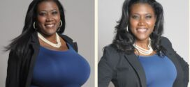 mujer con enormes senos